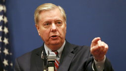 U.S. Senator Lindsey Graham speaks during a news conference in Cairo